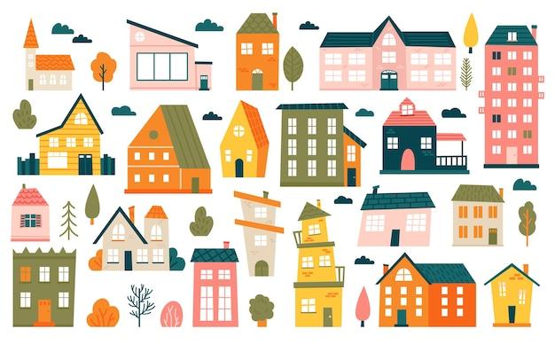 かわいい小さな家。漫画の小さな町の家、ミニマリズムの都市の建物、最小限の郊外の住宅のイラストアイコンセット。小さなマルチカラーの家、町の住宅の外観 Premiumベクター
