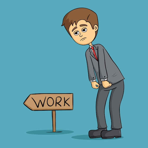 Cute tired businessman go to work in the morning Premium Vector