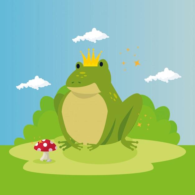 Cute toad in scene fairytale Free Vector