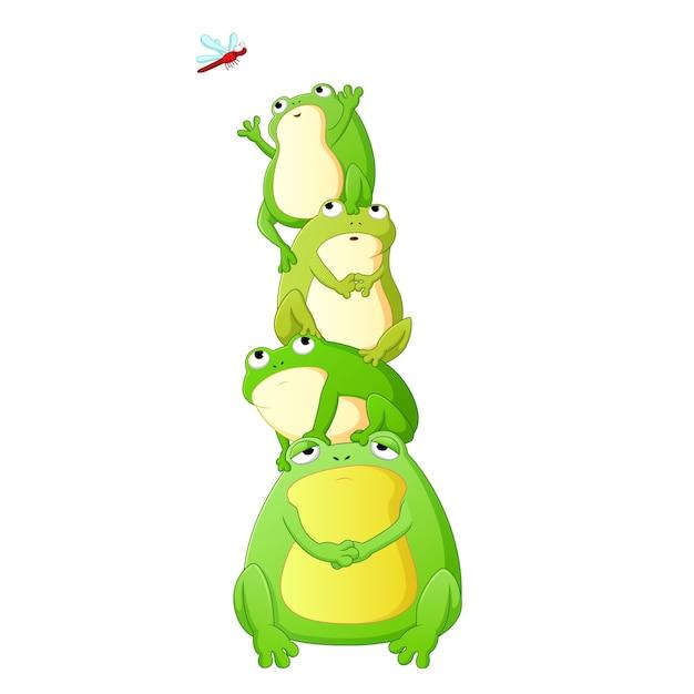Cute toads cartoon Premium Vector