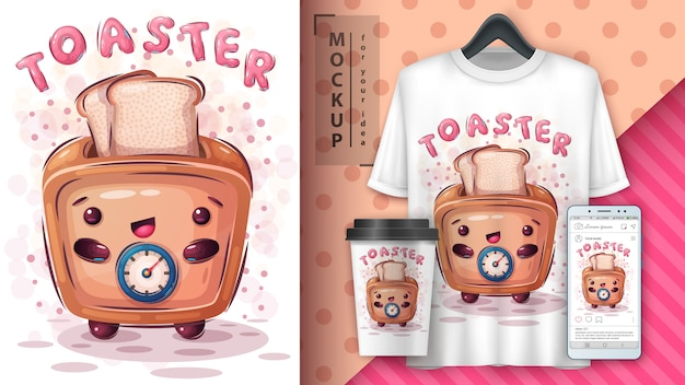 Cute toaster poster and merchandising Premium Vector