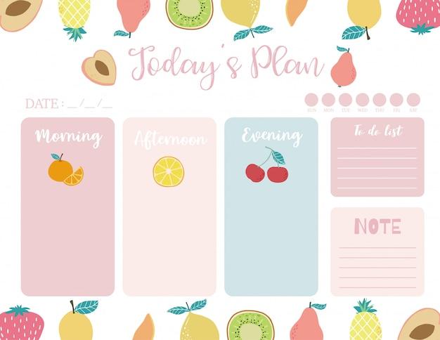 Cute today plan background with orange Premium Vector