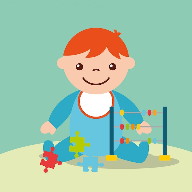 Cute toddler boy with toys abacus and puzzles Premium Vector