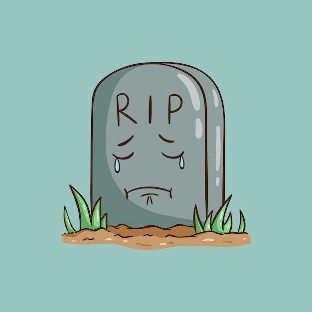 Cute tombstone illustration with sad face or expression Premium Vector