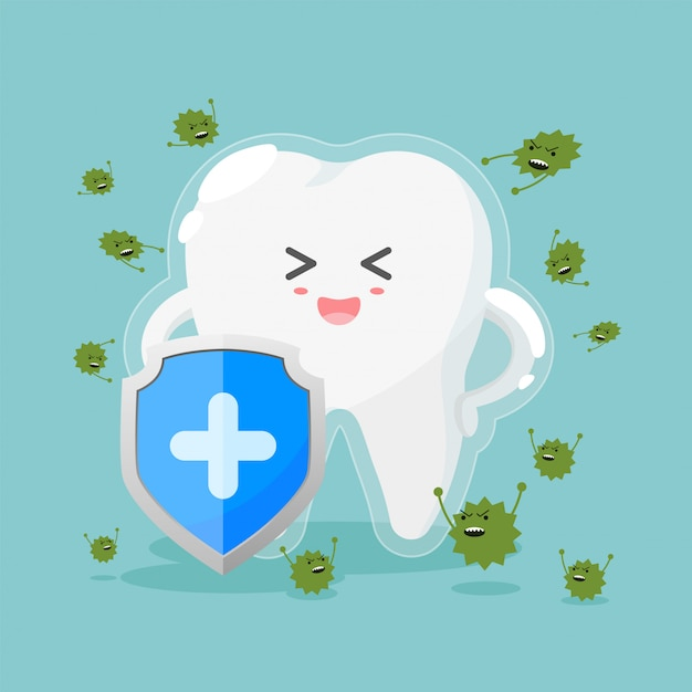 Cute tooth characters in flat style. healthy teeth and shield, anti-caries and protection bacteria. Premium Vector