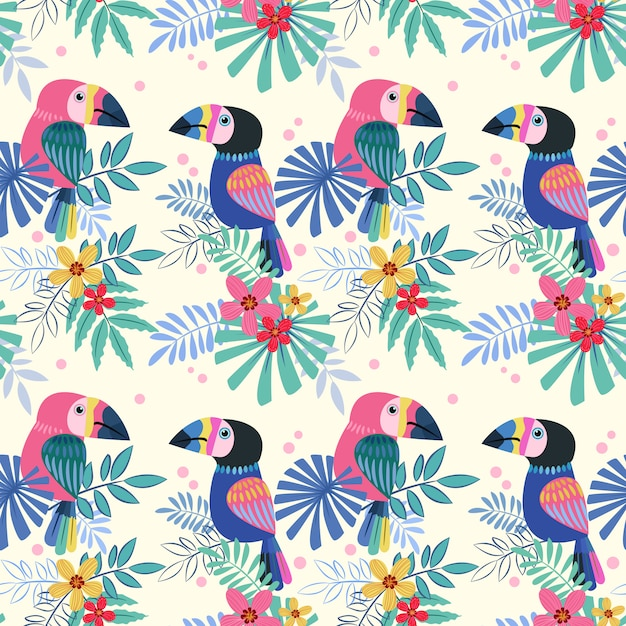 Cute  toucans bird seamless pattern. Premium Vector