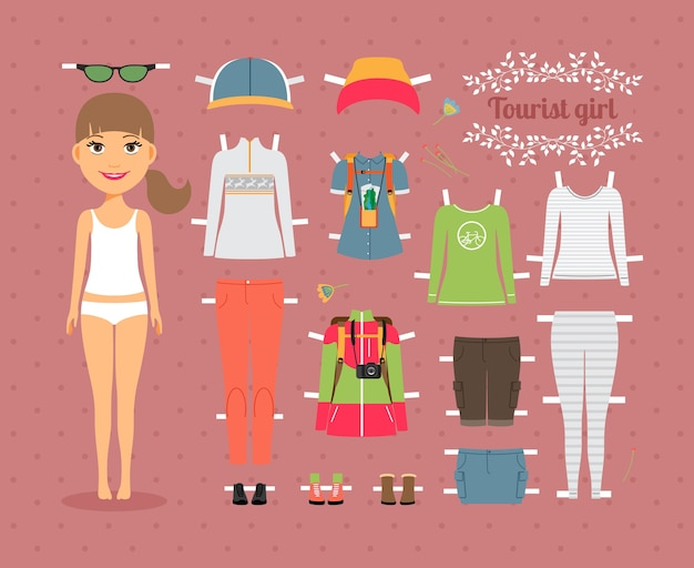 Cute tourist girl paper doll with set of fashionable clothes and shoes on seamless pink background. Free Vector