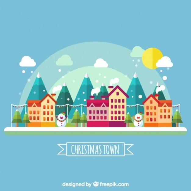 Cute Town With Houses And Mountains In Flat Design Vector