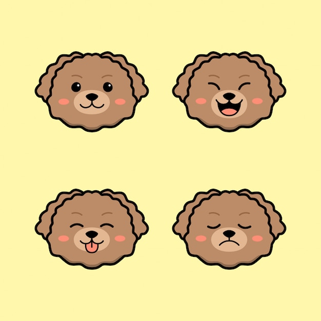Cute toy poodle dog with face expression animal set Premium Vector