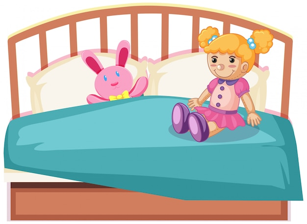 Cute toys on bed Free Vector