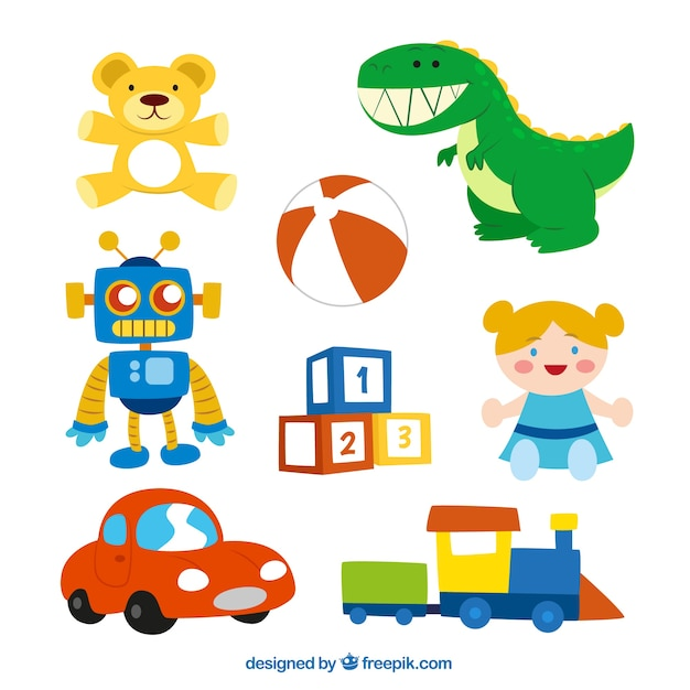Cute toys collection Free Vector