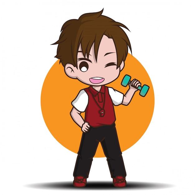 Cute trainer cartoon character., job concept. Premium Vector