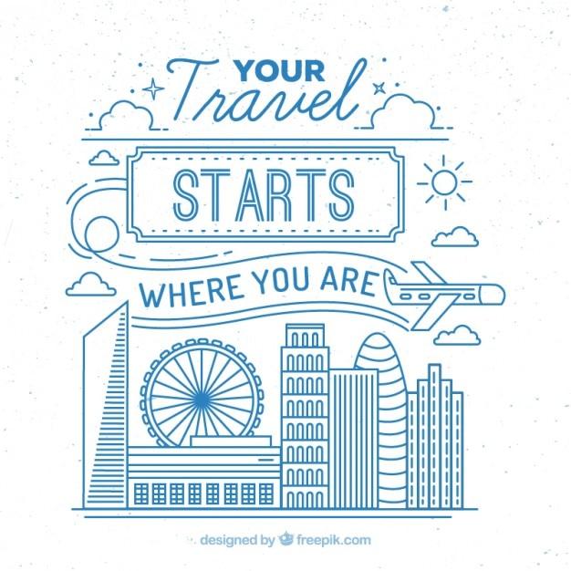 Carino illustrazione di viaggio con contorno blu Vettore gratuito