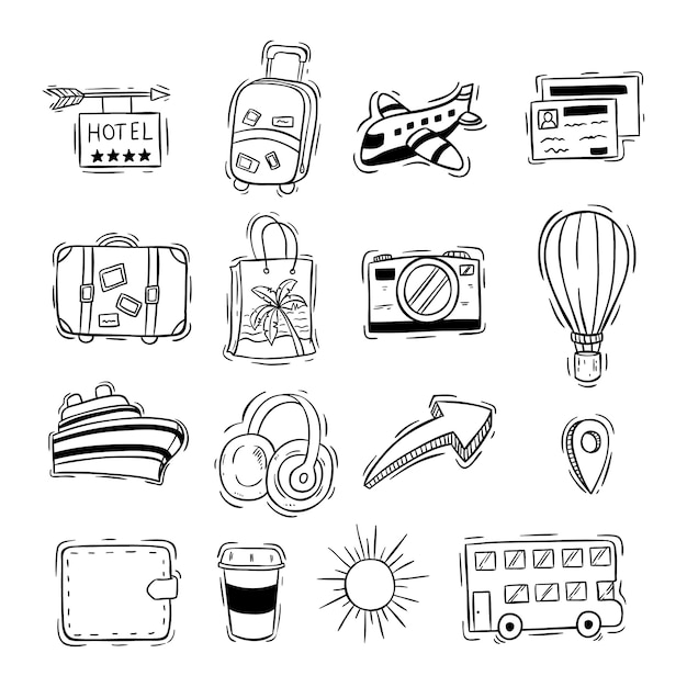 Cute travel or vacation icons with doodle style Premium Vector