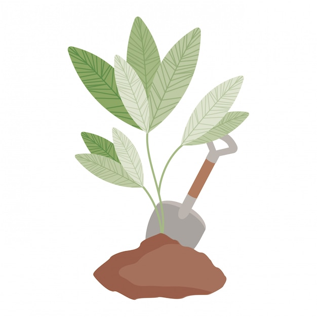 Cute tree plant with earth isolated icon Premium Vector