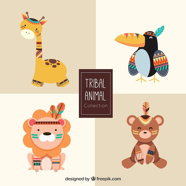 Cute tribal animal collection Free Vector