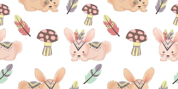 Cute tribal bunny seamless pattern Premium Vector