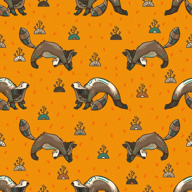 Cute tribal racoons. seamless pattern Premium Vector