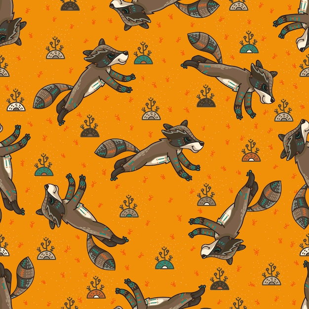 Cute tribal racoons. seamless pattern Premium Vector