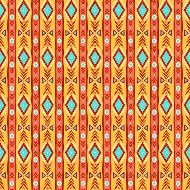 かわいい部族のストライプの黄色と青のシームレスパターン Premiumベクター