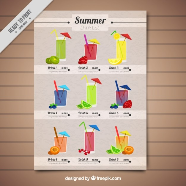 Cute tropical drink list template