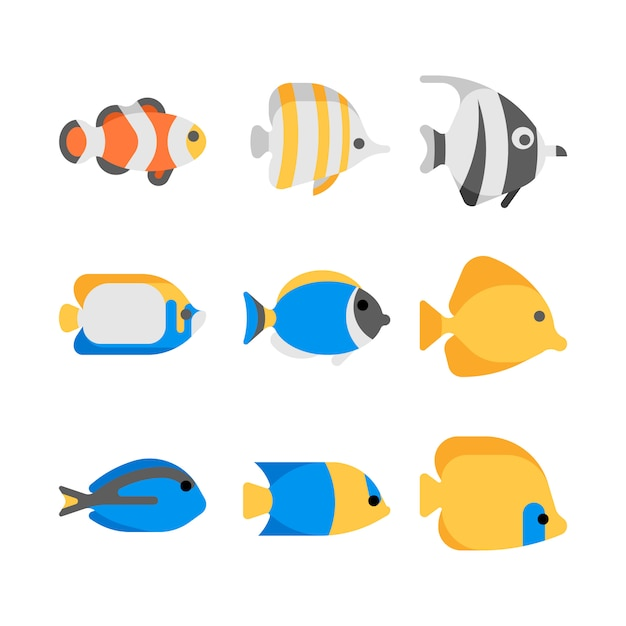 Cute tropical sea fish illustration icons Premium Vector