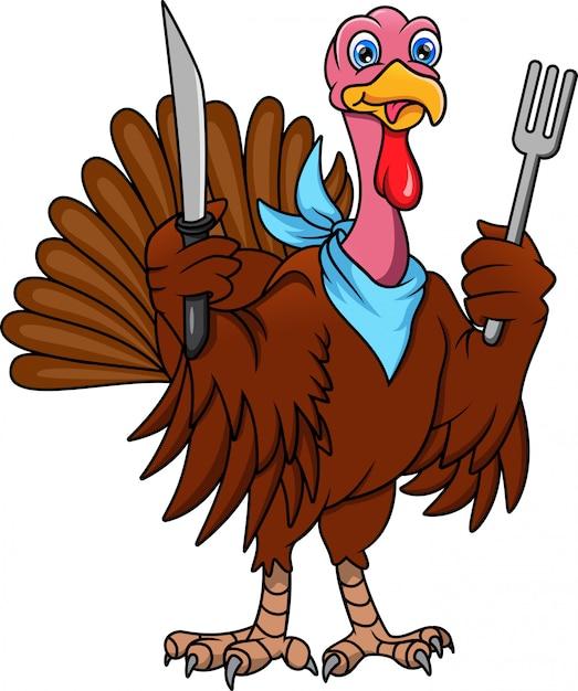 Cute turkey bird cartoon holding cutlery Premium Vector