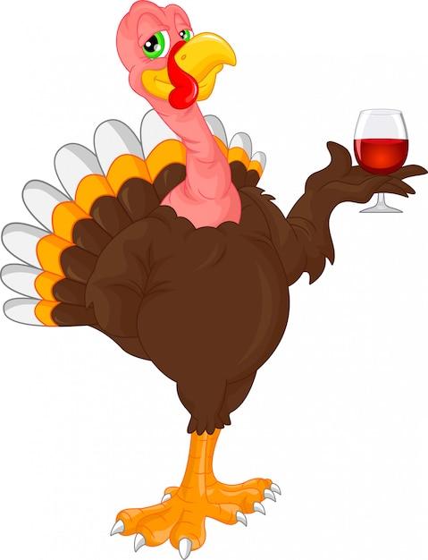 Cute turkey bird cartoon holding wine Premium Vector