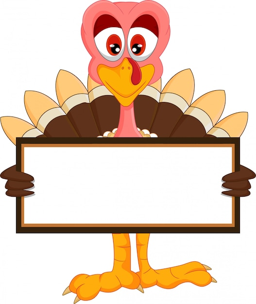 Cute turkey cartoon with blank sign Premium Vector