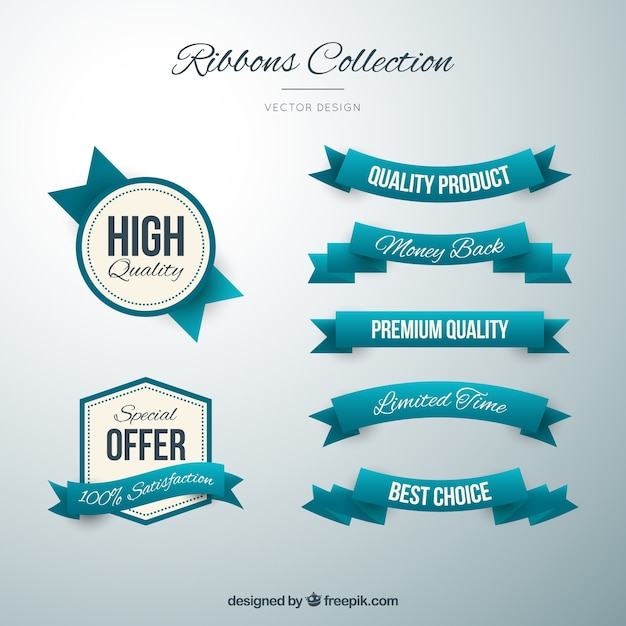 Cute turquoise badges and ribbons in vintage style Premium Vector