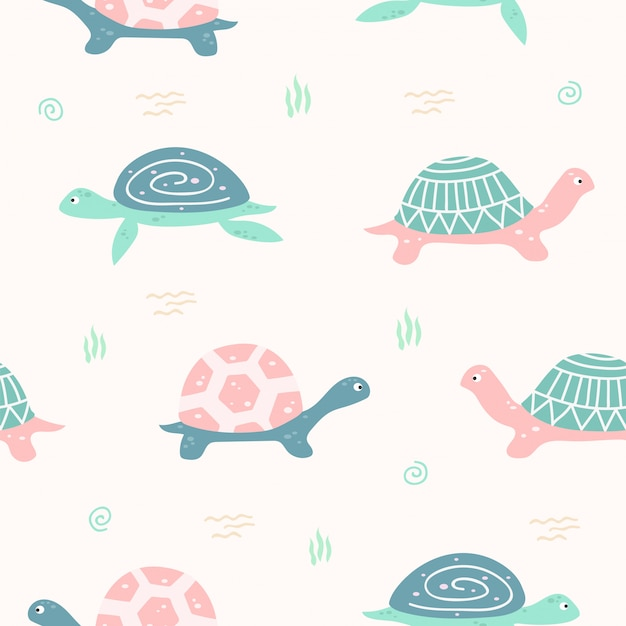 Cute turtle animal seamless pattern for