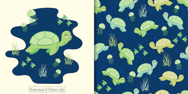 Cute turtle animal seamless pattern with hand drawn illustration card set Premium Vector