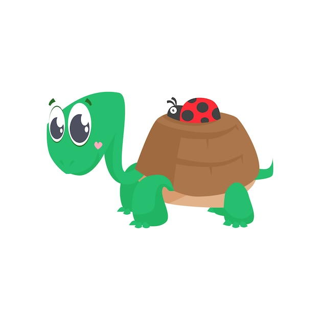 Cute turtle carrying ladybug on shell Free Vector