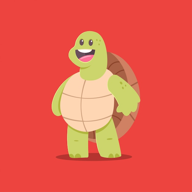 Cute turtle cartoon character Premium Vector