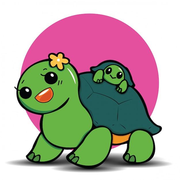 Cute turtle cartoon., cute animal concept. Premium Vector
