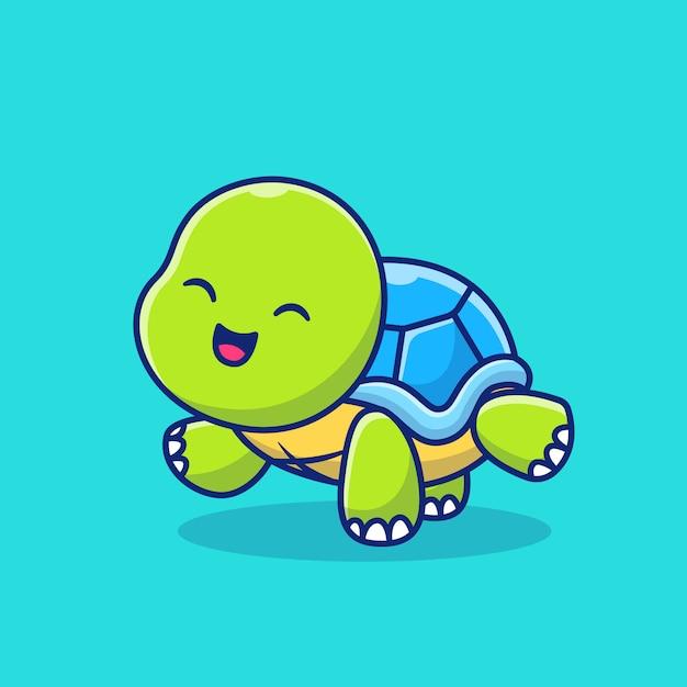 Милая черепаха делает иллюстрацию значка шаржа йоги. концепция значок спорта животных премиум. мультяшном стиле Premium векторы