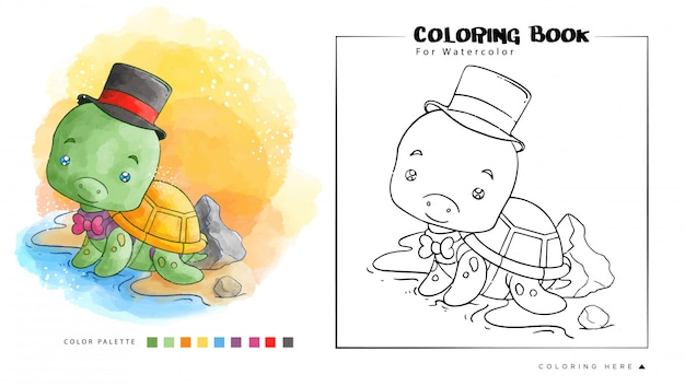 마술사 유니폼과 함께 해변에 귀여운 거북이. 수채화 색칠 공부를위한 만화 그림 프리미엄 벡터