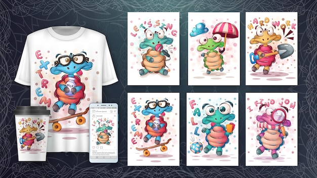 Cute turtle poster and merchandising Free Vector