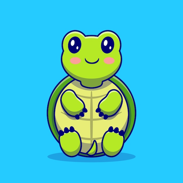 Cute turtle sit cartoon . animal love icon concept isolated . flat cartoon style Free Vector
