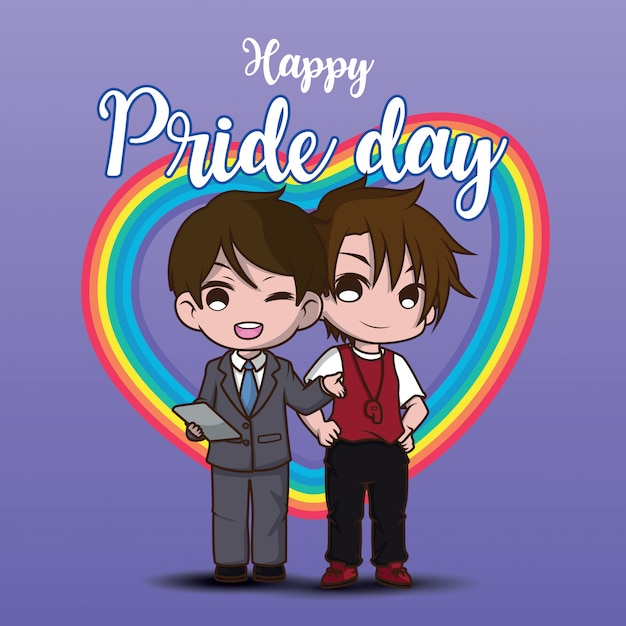 Cute two lesbian cartoon charactor. happy pride day. Premium Vector