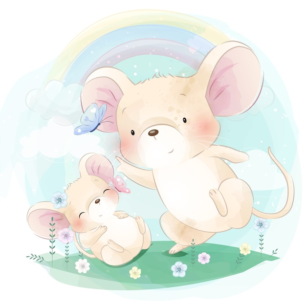 Cute two little mouse playing with butterfly Premium Vector