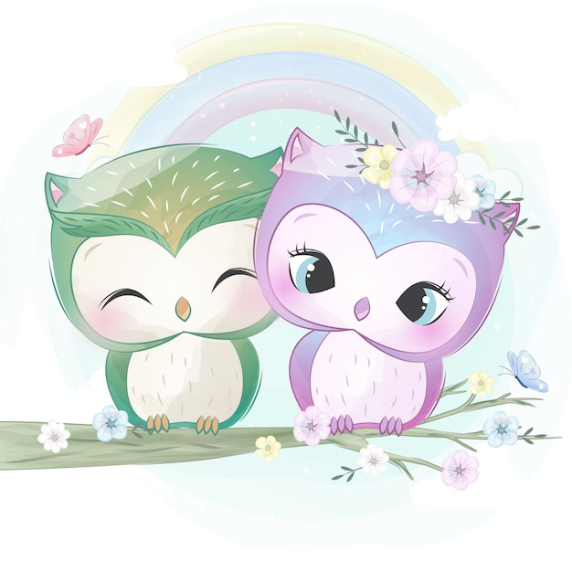 Cute two little owl Premium Vector