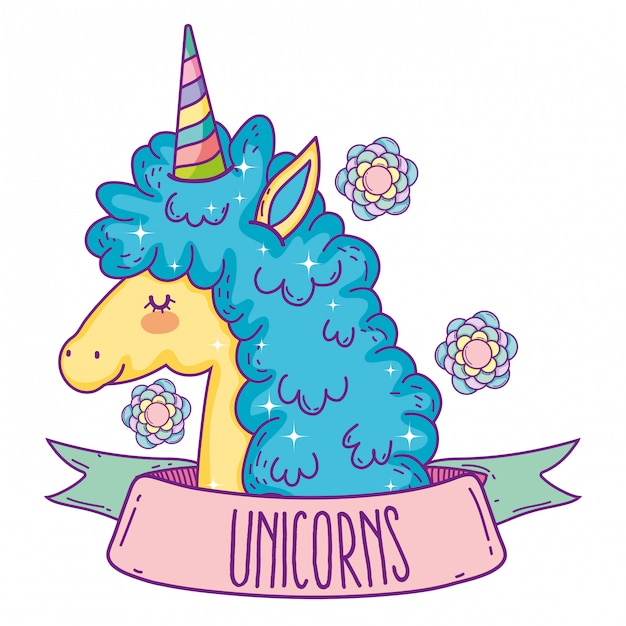 Cute unicorn animal with ribbon and flowers Premium Vector