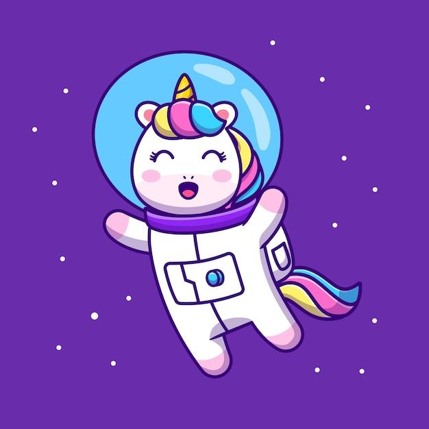 Милый единорог астронавт, плавающий в космосе, мультфильм значок иллюстрации Бесплатные векторы