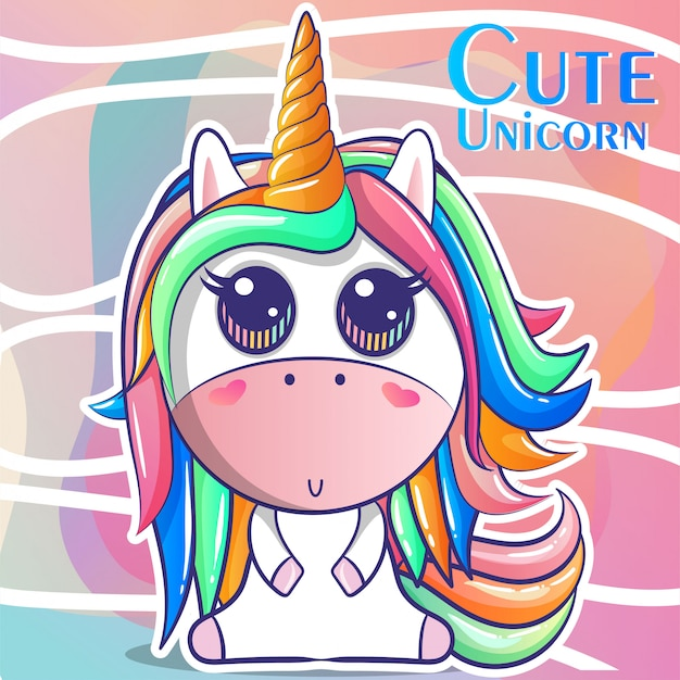 Cute unicorn, baby shower card vector illustration Premium Vector