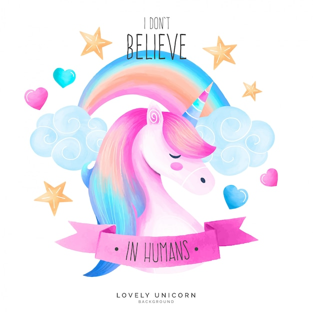 Cute unicorn background with quote Free Vector