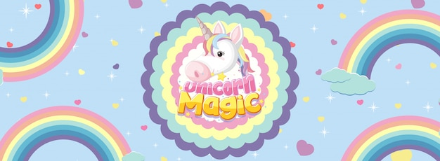 Cute unicorn banner on pastel background color | Premium ...