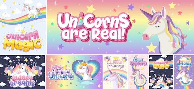 Cute unicorn banner on pastel background color Premium Vector