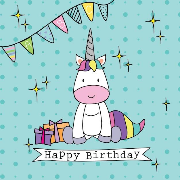 cute unicorn birthday greeting vector  premium download