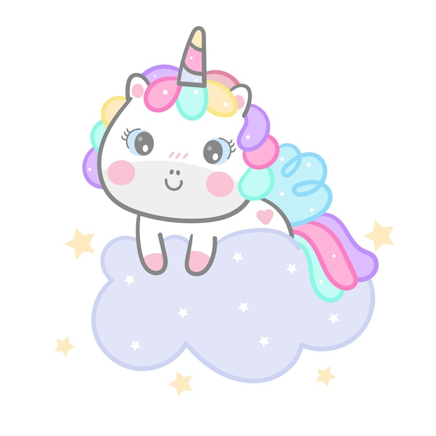 Cute unicorn cartoon on cloud hand drawn style Premium Vector